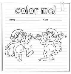 Coloring worksheet with monkeys vector