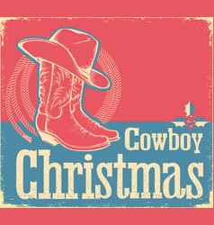 cowboy christmas card with western shoes and hat vector image vector image