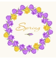 Crocus wreath 2 purple yellow vector