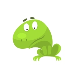 Curious green frog funny character childish vector