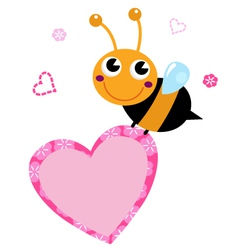 Cute flying Bee with pink heart isolated on white vector image vector image
