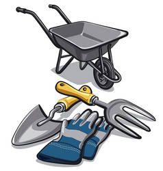 gardening tools and wheelbarrow vector image