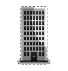 Grayscale apartment building line sticker vector