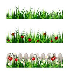 Green grass seamless set vector