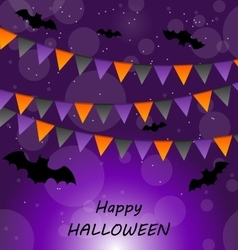 Halloween Background with Buntings and Bats vector image