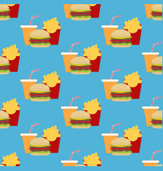 Hamburger fast food seamless pattern vector