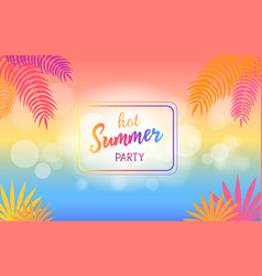hot summer party background with palm trees vector image vector image