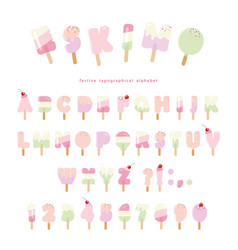 Ice cream eskimo font popsicle colorful letters vector