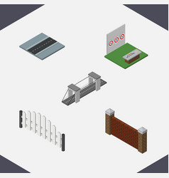 isometric architecture set of aiming game path vector image