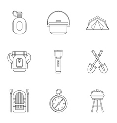 Nature tourism icons set outline style vector