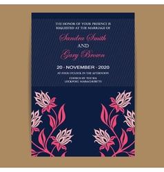 Navy coral wedding invitation vector