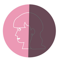 Profile head woman female long hair icon circle vector