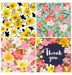 Set of floral backgrounds vector