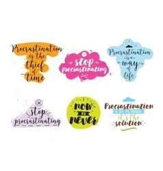 Set of quotes about procrastination hand drawn vector