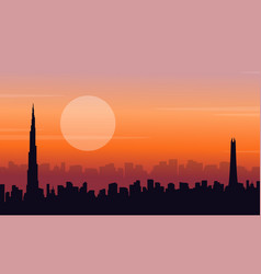 Silhouette of dubai at sunset scenery vector