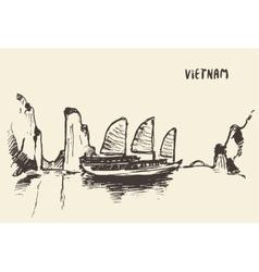 Sketch halong bay vietnam vector