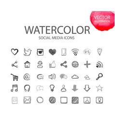 Social media symbols watercolor ico vector