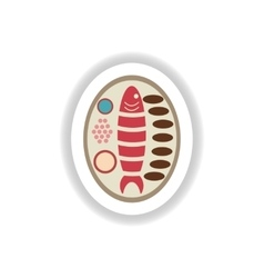 Stylish paper sticker grilled fish on a plate vector