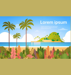 tropical beach island palm tree ocean summer vector image