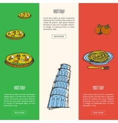 Visit italy touristic web banners vector