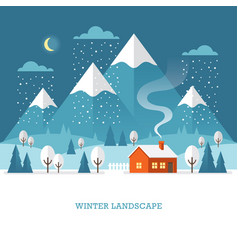 winter landscape at night vector image vector image
