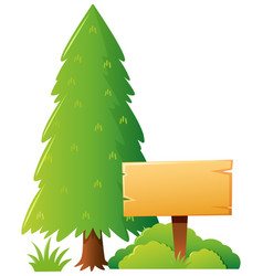 wooden sign template with park background vector image