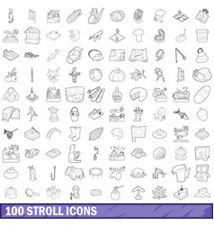 100 stroll icons set outline style vector