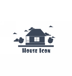 flat style one floor house with trees vector image