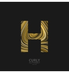 Curly textured letter h vector