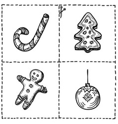 Set of cut out cards with xmas symboils hand vector