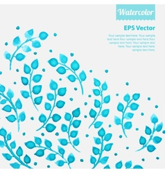 Turquoise watercolor floral pattern with leaves vector image