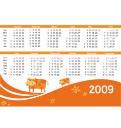 2009 calendar with cow vector