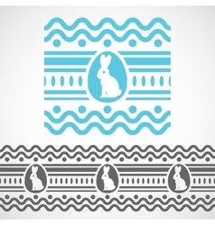 Pattern with waves rabbit and egg vector