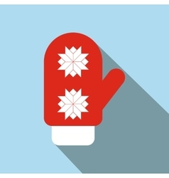Red santa mitten flat icon vector