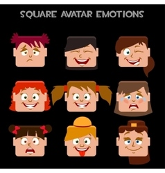 Create a square avatar girl emotions vector