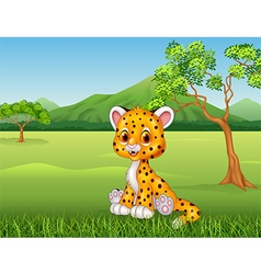 Cute baby cheetah in jungle vector