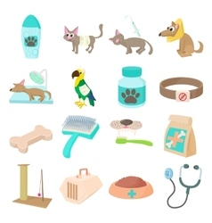 Veterinary icons set vector