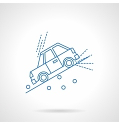 Car on slope flat line icon vector