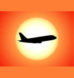 airplane silhouette background sunset vector image vector image