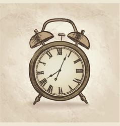Alarm clock in retro style vintage watch dial vector