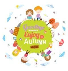 Autumn with happy kids vector