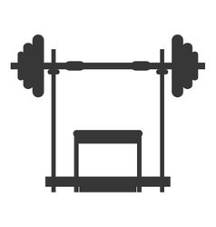 Barbell and bench icon vector