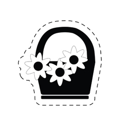 basket flower decoration ornament pictogram vector image