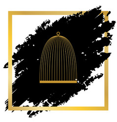 Bird cage sign golden icon at black spot vector