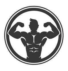 bodybuilder logo icon on white background vector image