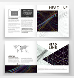 Business templates for square bi fold brochure vector