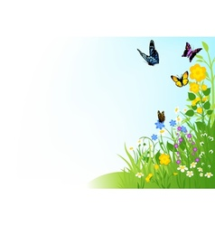 Butterflies and flowers vector