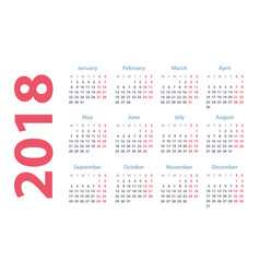 Calendar for 2018 starts monday calendar vector