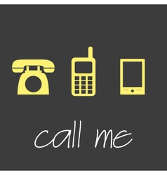 Call me with various telephone symbols simple vector