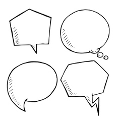 Chat and think doodle bubbles hand drawn vector image vector image